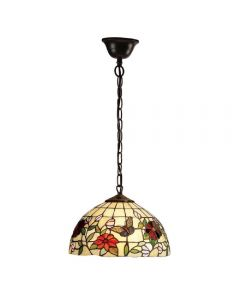 Interiors 1900 63996 Butterfly Tiffany Small 1 Light Ceiling Pendant In Bronze - Dia: 300mm
