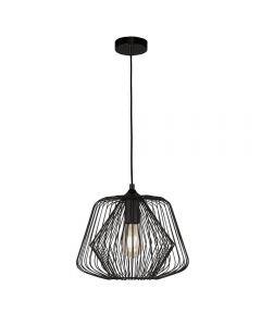 Searchlight 0211BK Bell Cage 1 Light Ceiling Pendant Light In Black