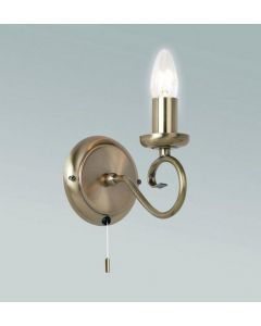 Endon 180-1AN 1 Light Wall Light In Antique Brass