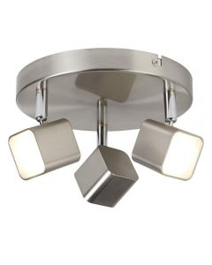 Searchlight 4233SS Quad Three Light Ceiling Spotlight In Satin Silver And Glass