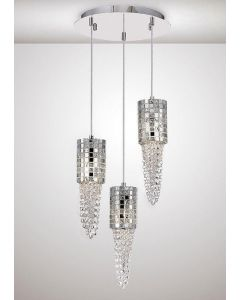 Diyas IL31624 Camden 3 Light Round Cluster Pendant In Polished Chrome