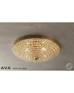 IL30757 Ava 6 Light French Gold & Crystal Ceiling Light