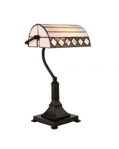 Interiors 1900 70908 Fargo 1 Light Bankers Table Lamp In Bronze With Shade