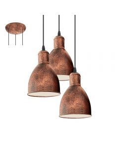 Eglo 49493 Priddy 1 Three Light Ceiling Cluster Pendant Light In Antique Copper