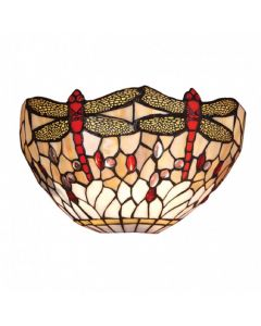 Interiors 1900 64101 Dragonfly Beige Tiffany 1 Light Wall Light In Bronze With Shade