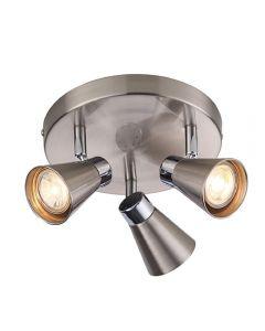Endon 76204 Kai 3 Light Ceiling Spotlight In Satin Nickel And Chrome Plate