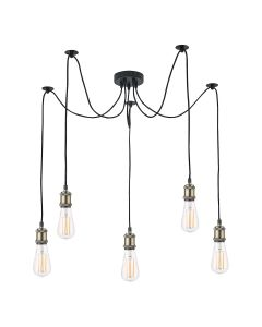 Dar Lighting WAC0575 Waco 5 Light Ceiling Pendant Light In Antique Brass And Matt Black Finish