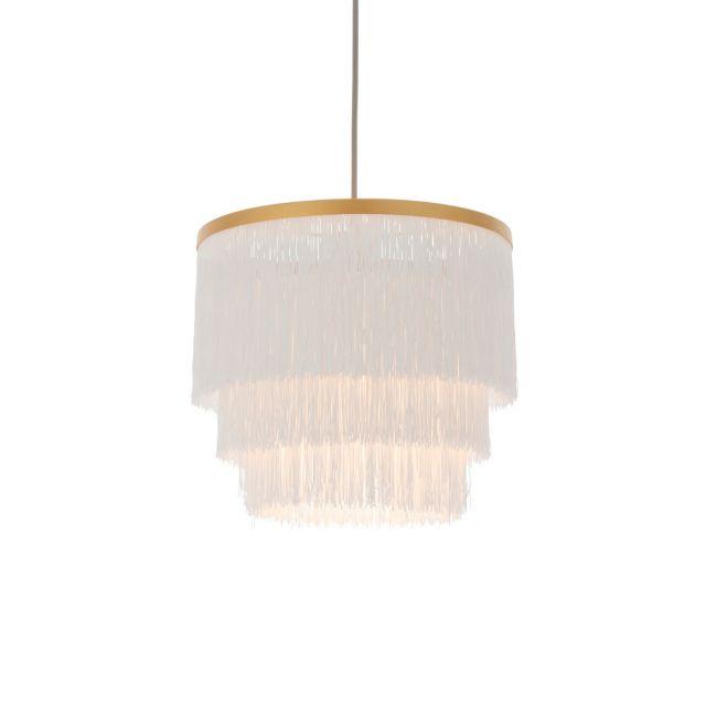 Stylish 1 Light Ceiling Pendant Light In Matt Gold Finish With White Tassels