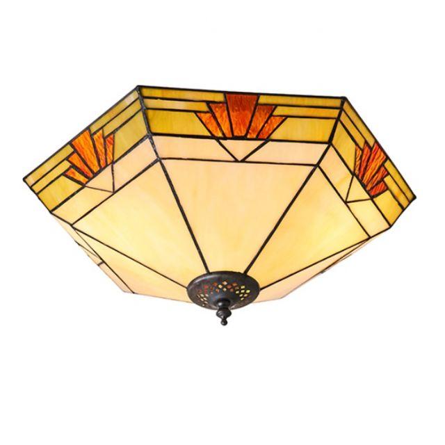 Interiors 1900 64284 Nevada Tiffany 2 Light Flush Ceiling Light In Natural Shades