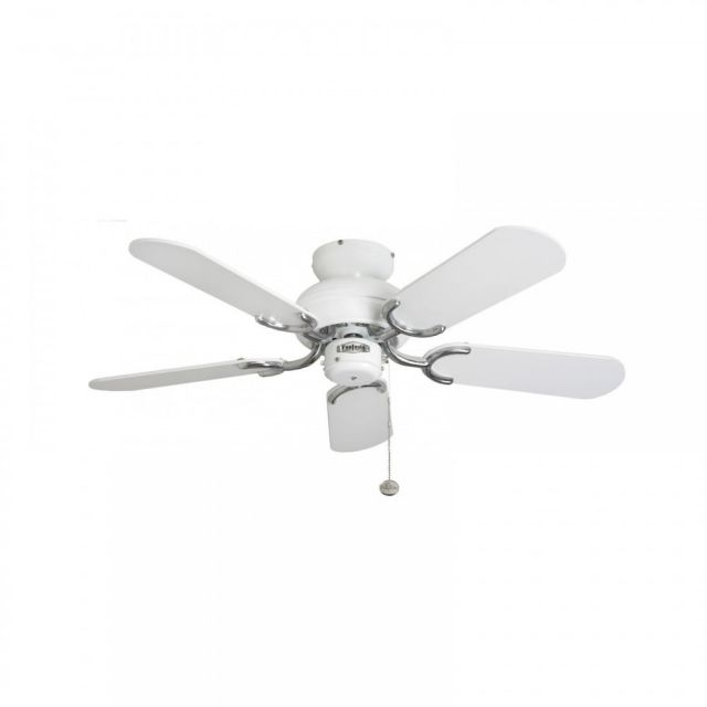 "Fantasia 110521 Capri 36"" Ceiling Fan In Gloss White And Stainless Steel With Matt White Blades"