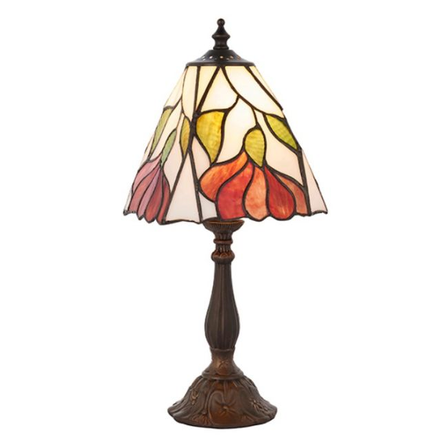 Interiors 1900 63963 Botanica Tiffany Small 1 Light Table Lamp In Bronze With Shade