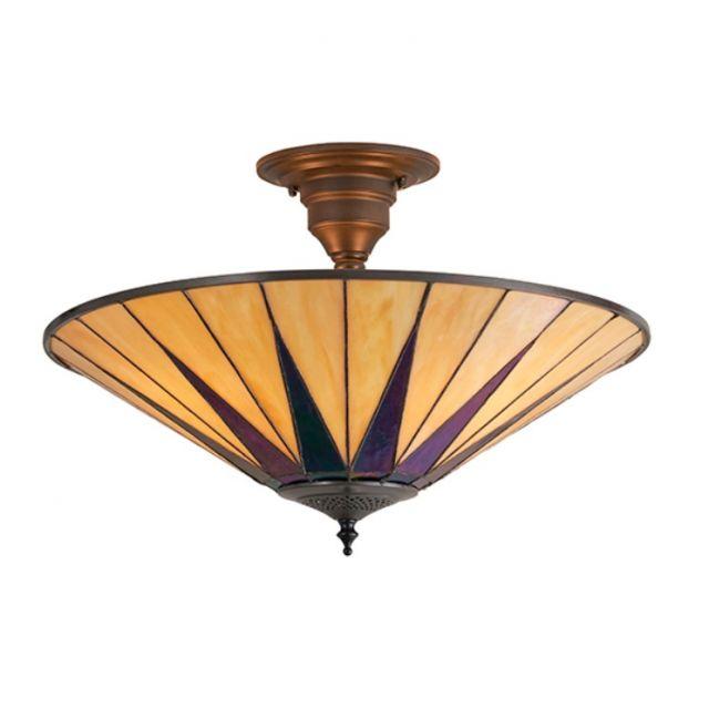 Interiors 1900 64043 Tiffany Semi Flush 3 Light Ceiling Light