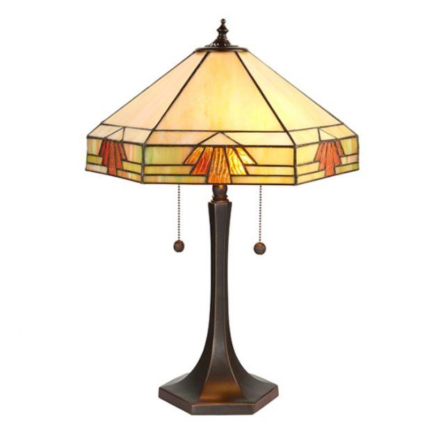 Interiors 1900 64286 Nevada Tiffany Large 2 Light Table Lamp In Natural Shades