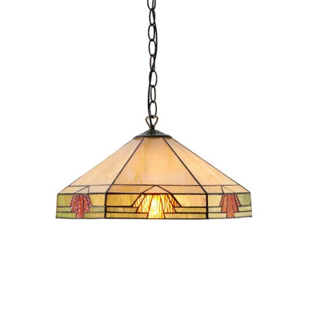 Interiors 1900 64285 Nevada Tiffany 1 Light Ceiling Pendant Light In Natural Shades