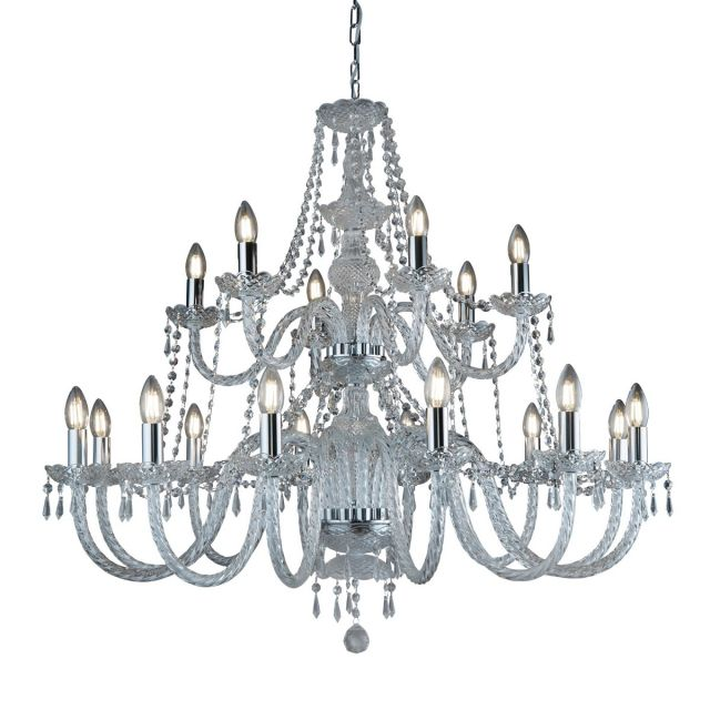 Searchlight Large 18 Arm Two Tier Crystal Chandelier Ceiling Light In Polished Chrome.
