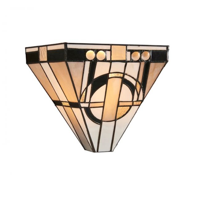 Interiors 1900 64267 Metropolitan Tiffany 1 Light Wall Light In Bronze Effect