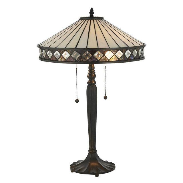 Interiors 1900 70935 Fargo Tiffany Medium 2 Light Table Lamp - Height: 590mm