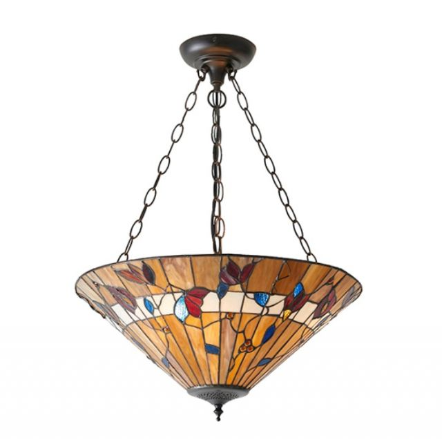 Interiors 1900 63949 Bernwood Tiffany 3 Light Large Inverted Ceiling Pendant In Bronze