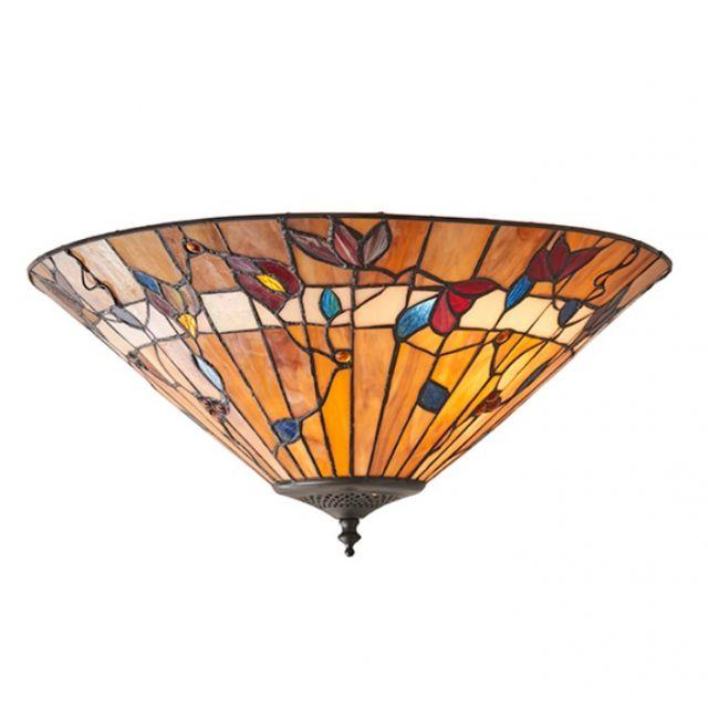 Interiors 1900 63948 Bernwood Tiffany Medium 2 Light Flush Ceiing Light In Bronze