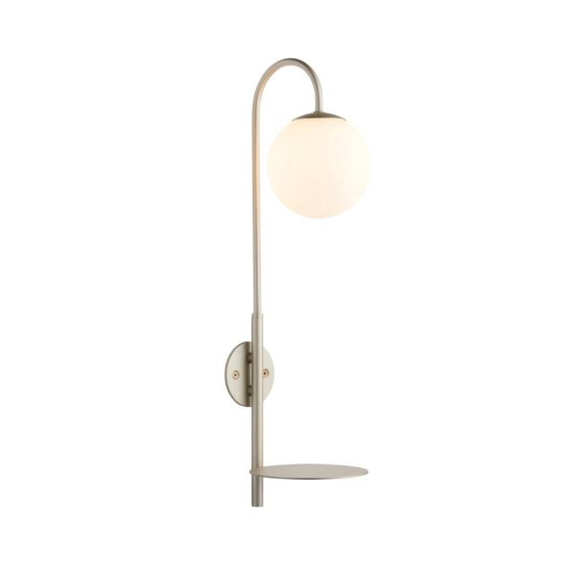 Contemporary 1 Light Plug In Wall Light With Shelf In Satin Champagne  With Opal Glass Shade