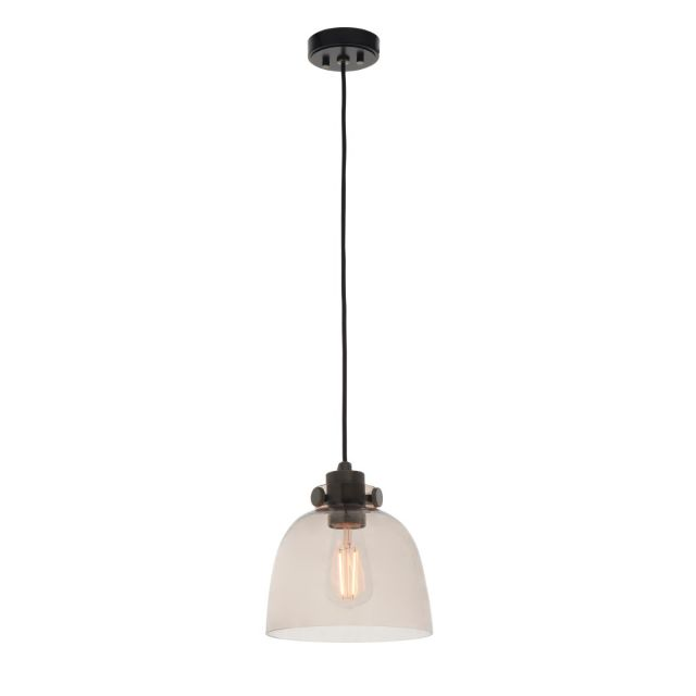 Industrial 1 Light Ceiling Pendant Light In Black Chrome Finish With Smokey Grey Tinted Glass