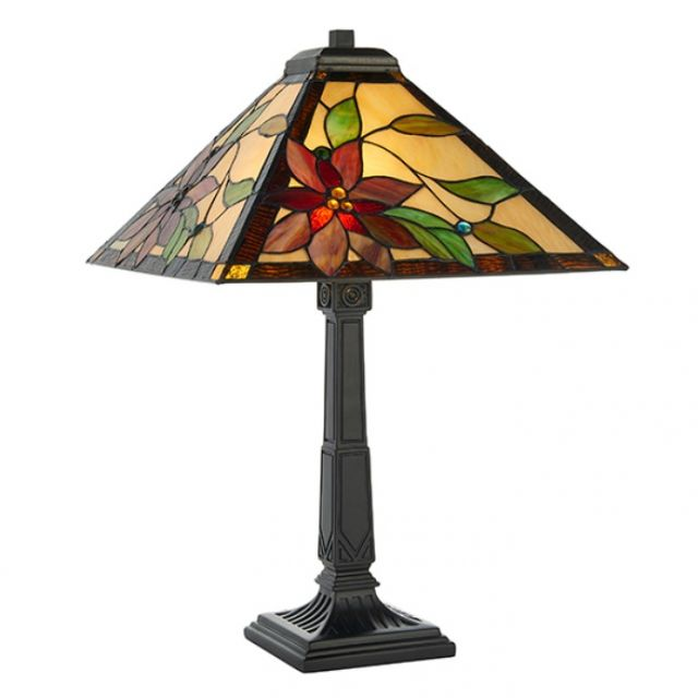 Interiors 1900 64230 Lelani Tiffany 2 Light Medium Table Lamp - Height: 600mm