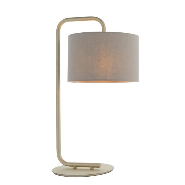 Modern 1 Light Table Lamp In Satin Champagne With Slate Grey Fabric Shade