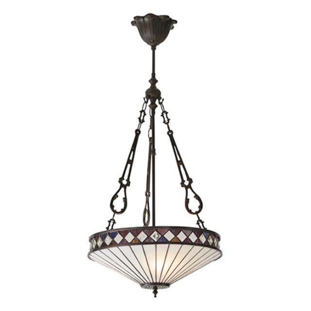 Interiors 1900 64146 Fargo Tiffany 3 Light Inverted Ceiling Pendant