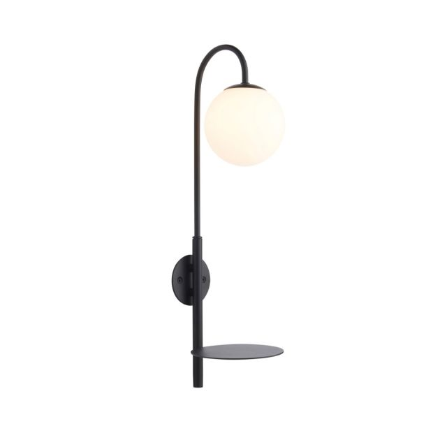 Contemporary 1 Light Plug In Wall Light With Shelf In Satin Black With Opal Glass Shade