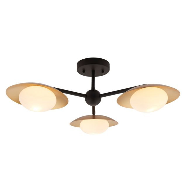 Modern 3 Light Semi Flush Ceiling Light In Gold And Dark Bronze With Opal Shades