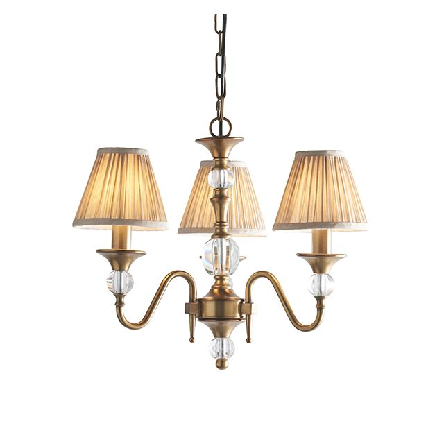 Interiors 1900 63586 Polina Antique Brass 3 Light Ceiling Pendant Light With Beige Shades In Brass