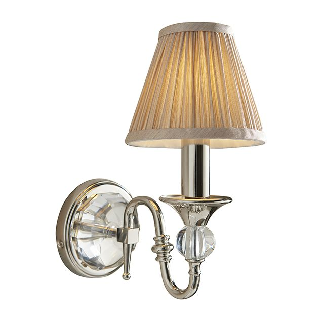 Interiors 1900 63596 Polina Nickel 1 Light Wall Light With Beige Shade In Polished Nickel