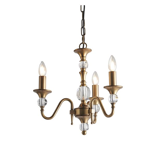 Interiors 1900 LX124P3B Polina Antiique Brass 3 Light Ceiling Pendant Light In Brass - Fitting Only