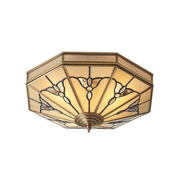 Interiors 1900 SN03FL46 Gladstone 4 Light Flush Ceiling Light In Tiffany Style Glass And Brass