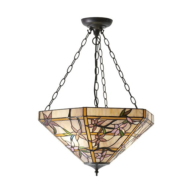 Interiors 1900 64019 Clematis Tiffany Large Inverted 3 Light Ceiling Pendant In Bronze