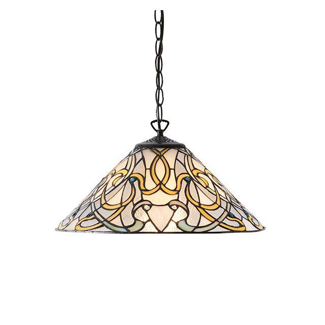 Interiors 1900 64054 Dauphine Tiffany Medium 1 Light Ceiling Pendant In Bronze