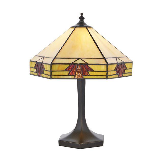 Interiors 1900 64287 Nevada Tiffany Small Table Lamp In Natural Shades