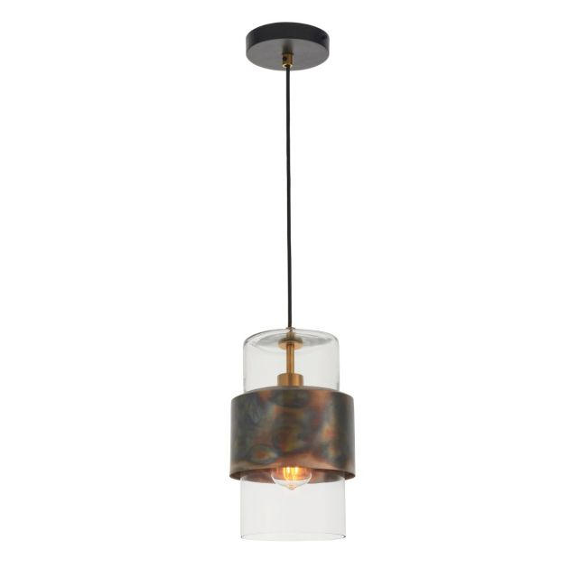 Artisan 1 Light Ceiling Pendant Light In Bronze  Patina and Clear Glass