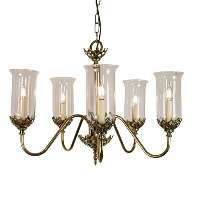 Gothic 719P5G Traditional Solid Brass Ceiling Pendant, Clear Glass Shades