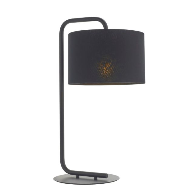 Modern 1 Light Table Lamp In Satin Black With Black Fabric Shade