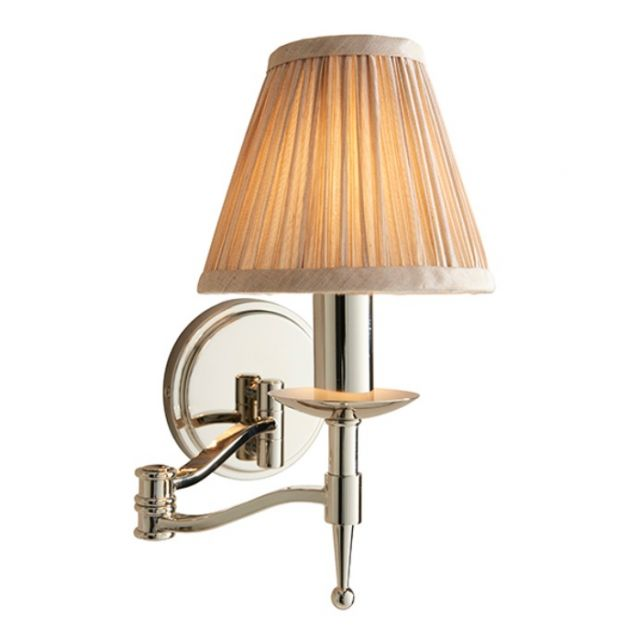 Interiors 1900 63658 Stanford Nickel Swing Arm Wall Light With Beige Shade In Nickel