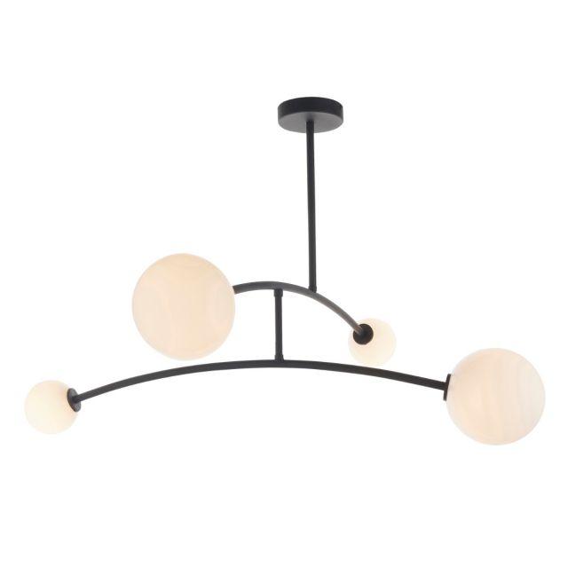 Contemporary 4 Light Semi Flush Ceiling Light In Matt Black With Gloss Opal Glass
