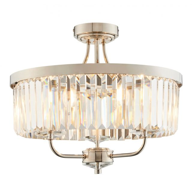 Stunning 3 Light Semi Flush Ceiling Light In Bright Nickel Finish With Clear Cut Glass