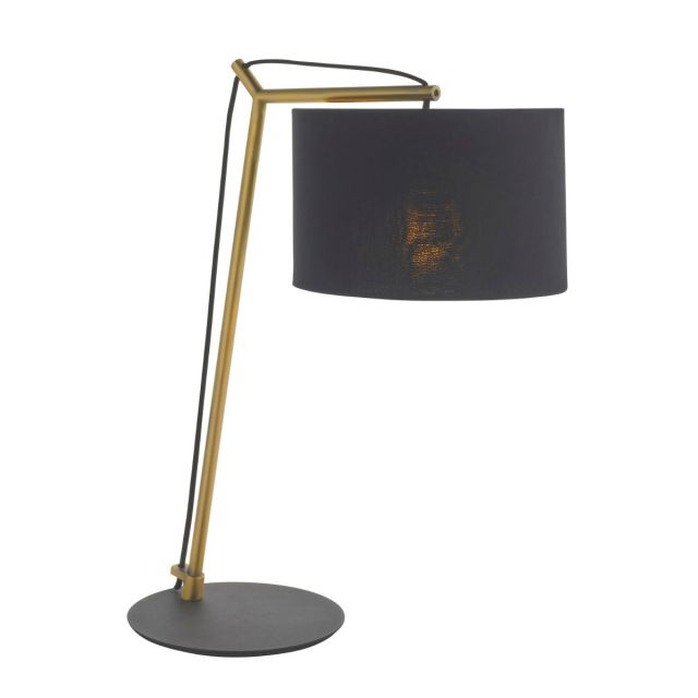 Modern 1 Light Table Lamp In Matt Brass And Black With Black Cotton Shade