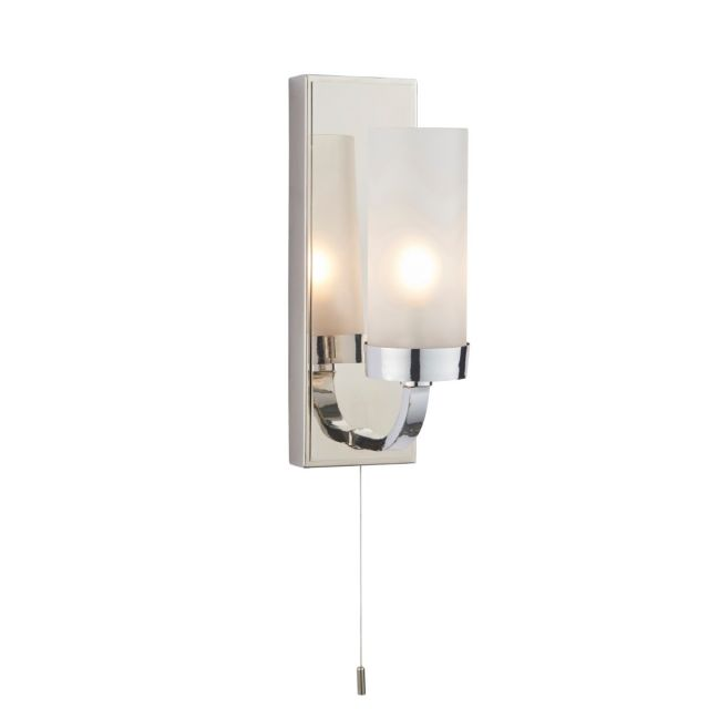 Modern 1 Light Wall Bathroom Light In Chrome Finish With Frosted Glass IP44