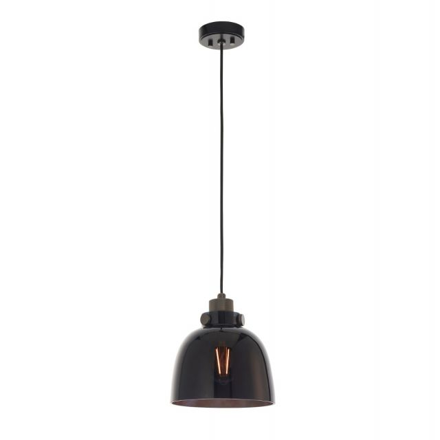 Industrial 1 Light Ceiling Pendant Light In Black Chrome Finish With Black Tinted Glass