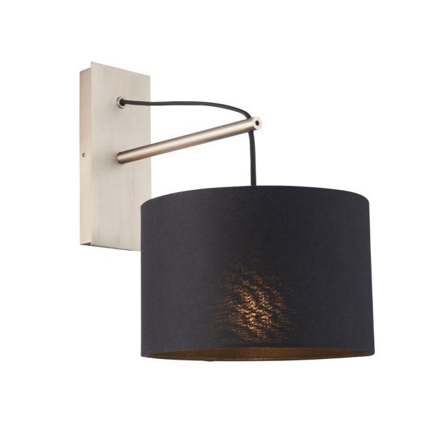 Modern 1 Light Wall Light In Matt Nickel With Black Cotton Shade