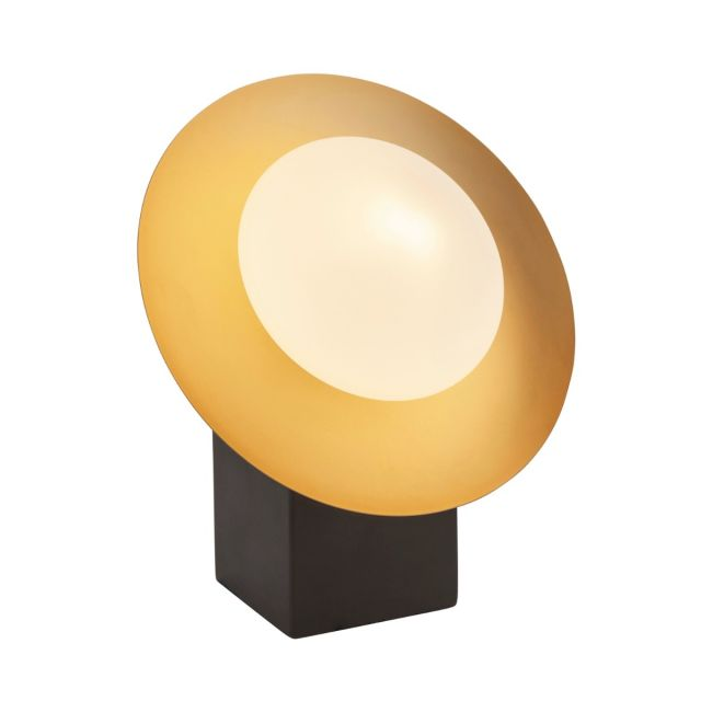 Modern 1 Light Table Lamp In Gold And Dark Bronze With Opal Shade