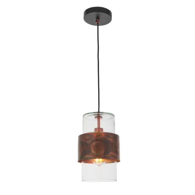Artisan 1 Light Ceiling Pendant Light In Copper Patina and Clear Glass