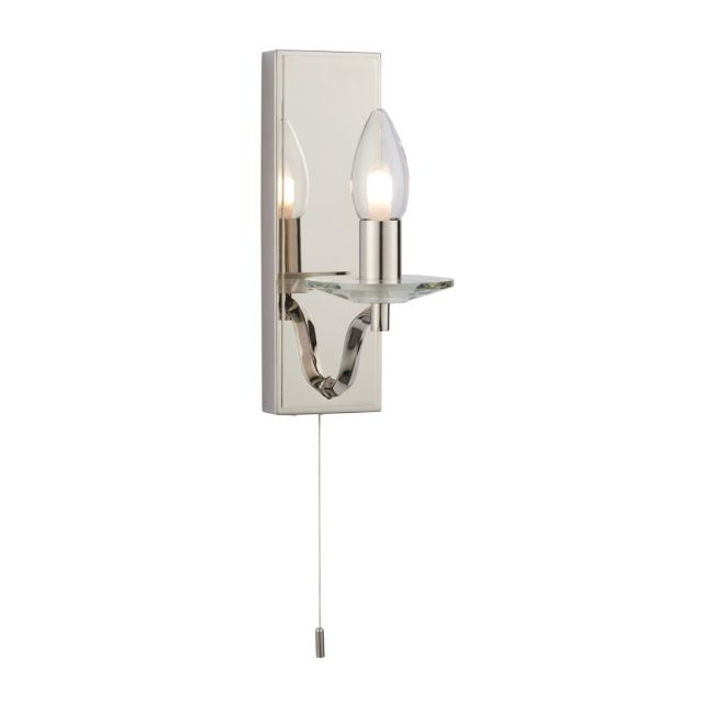 Stylish 1 Light Wall Bathroom Light In Nickel Finish With Clear Crystal Detail IP44